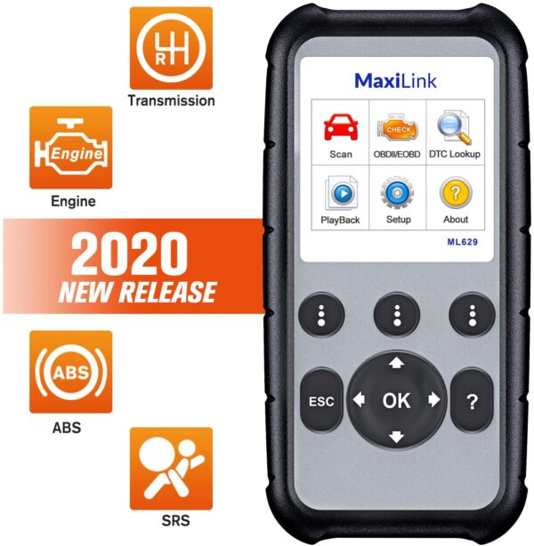 Autel MaxiLink ML629 Enhanced OBD2 Scanner, Upgraded of AL619, ML619, ABS SRS Engine Transmission Diagnosis, OBDII Scan Tool, Auto VIN, DTC Lookup, Ready Test